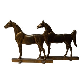 1930s Vintage Brass Horse Doorstoppers- a Pair For Sale