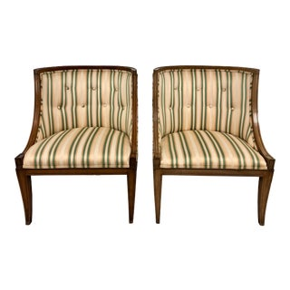 Hollywood Regency Style Slipper Chairs - a Pair For Sale