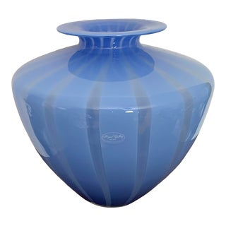 Large Italian Blue Striped Modern Art Glass Vase For Sale