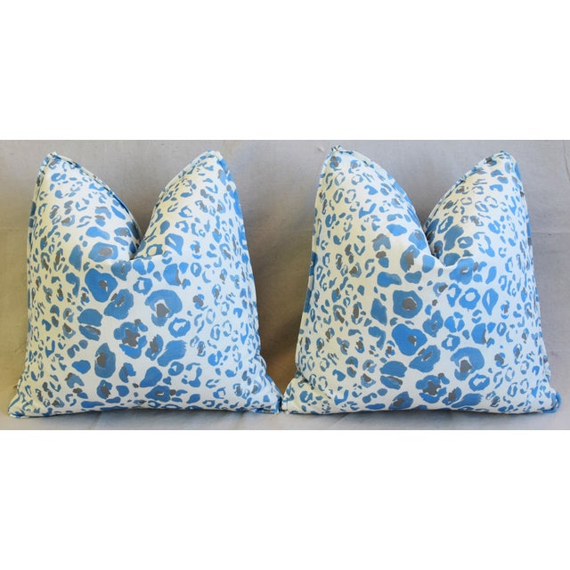 """Pindler & Pindler Leopard Animal Spot & Velvet Feather/Down Pillows 20"""" Square - Pair For Sale In Los Angeles - Image 6 of 13"""