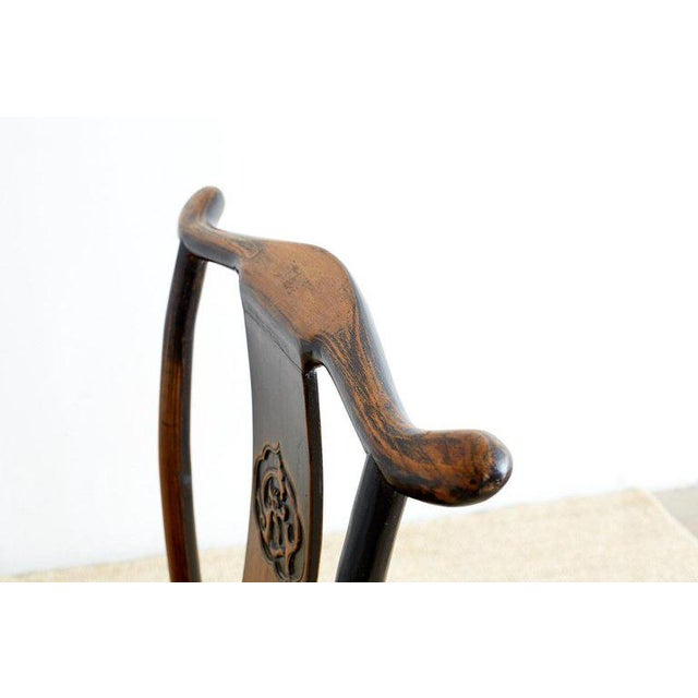 Brown Chinese Dragon Carved Yoke Back Official's Hat Chairs For Sale - Image 8 of 13
