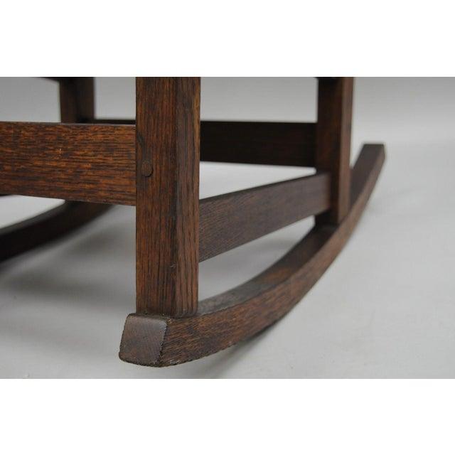 L. & J.G. Stickley, Inc. Mission Oak Youth Nursing Rocking Chair For Sale In Philadelphia - Image 6 of 11