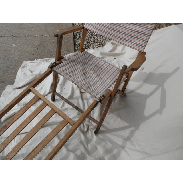 Industrial Antique Canvas Steamer Chair & Footrest For Sale - Image 3 of 8