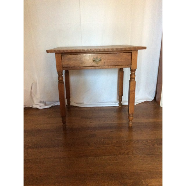 Wood Primitive American Pine Table With Drawer For Sale - Image 7 of 13