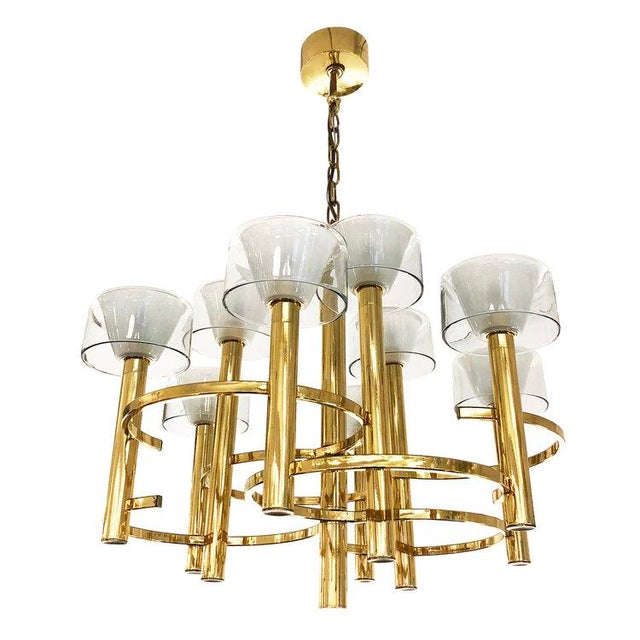 1970s Gaetano Sciolari Brass Ceiling Light For Sale - Image 5 of 9