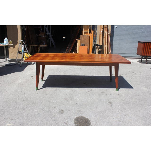 Master Piece French Art Deco Dining Table Cherry Wood By Leon Jallot 1930s For Sale - Image 12 of 13