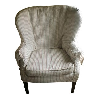 Slipcover White Wingback Chair For Sale