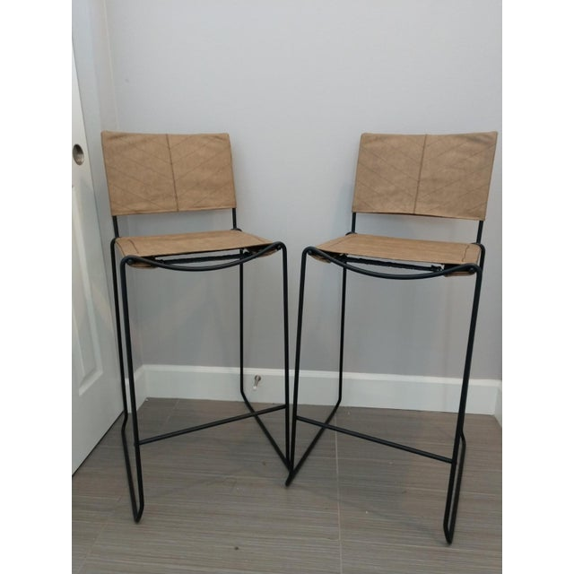 Modern Industrial Bar Stools With Vinyl - A Pair - Image 11 of 11
