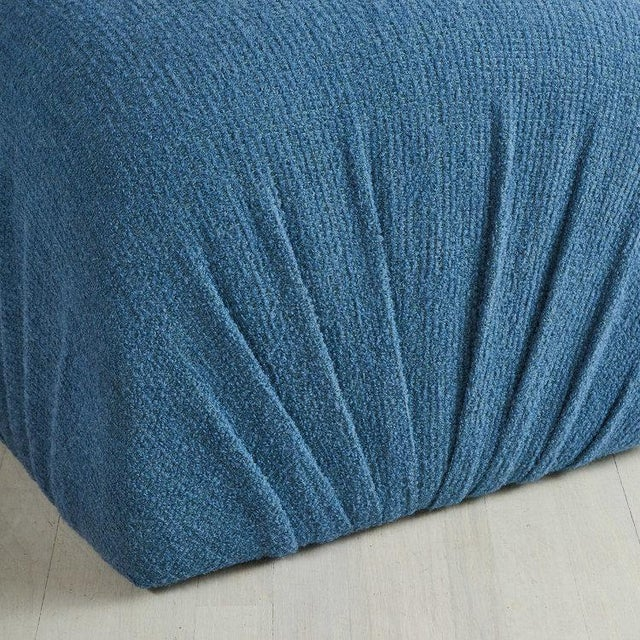 Mid-Century Modern Pair of Karl Springer Style Poufs in Blue Wool For Sale - Image 3 of 5