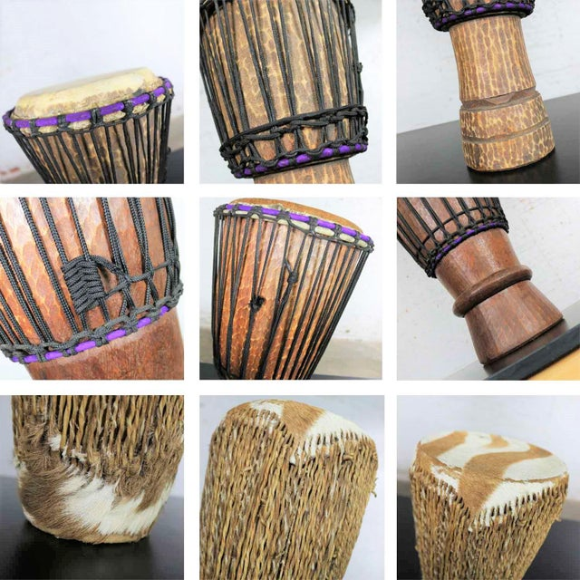 Trio of Tribal Drums Carved Wood and Animal Hide For Sale - Image 12 of 13