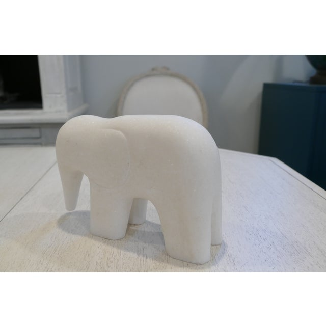 2000 - 2009 White Marble Elephant Contemporary Figurine For Sale - Image 5 of 8