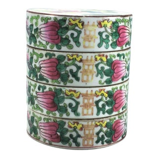 19th Century Chinese Famille Rose Porcelain 'Double-Happiness' Sweetmeat Stacking Box For Sale