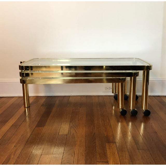 Late 20th Century 20th Century Post Modern Polished Brass 3-Tiered Nesting Table For Sale - Image 5 of 5