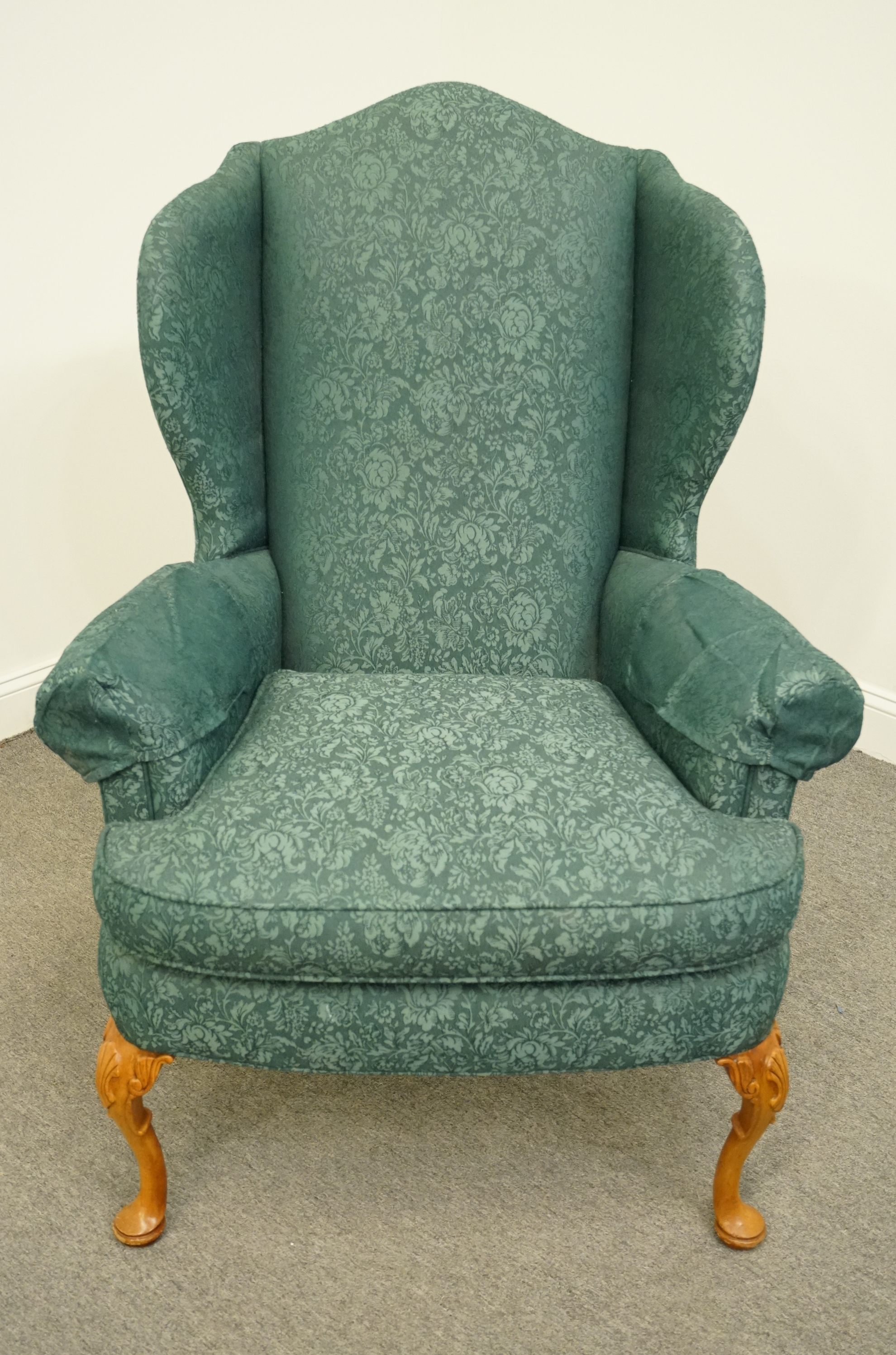 Traditional Late 20th Century Vintage Pennsylvania House Advantage Green  Teal Upholstered Wingback Arm Chair For Sale