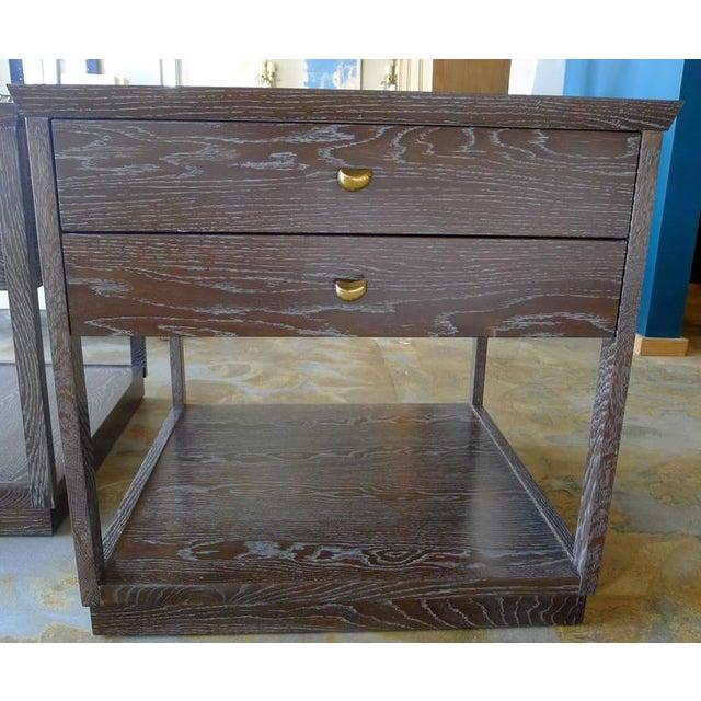 Brown Paul Marra Ceruse Oak Two-Tier Nightstand For Sale - Image 8 of 10