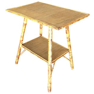 Restored Pedestal Side Table With Tiger Bamboo Frame With Bottom Shelf For Sale