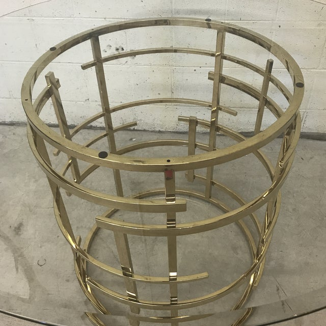 2010s Mitchell Gold Glass and Brass Dining Table- Round For Sale - Image 5 of 10