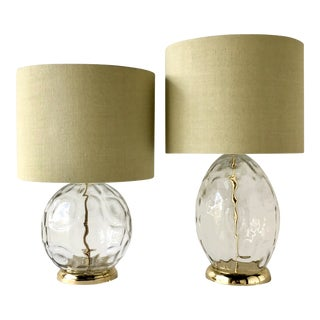 Matched Pair of Clear Handblown Glass Table Lamps 1960s For Sale