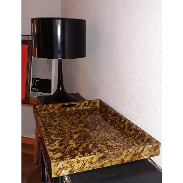 Modern Faux Tortoise Lacquered Serving Tray For Sale - Image 3 of 6