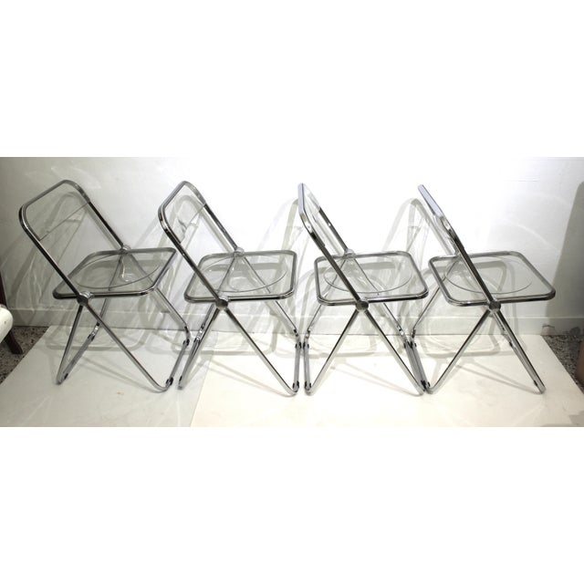 Metal Vintage Casselli Plia Folding Chairs in Lucite and Chrome - a Set of 4 For Sale - Image 7 of 13