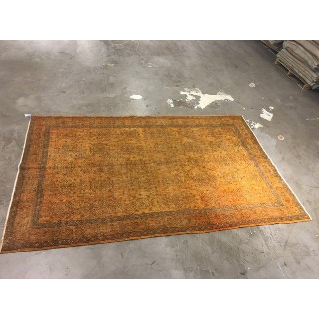 "Vintage Turkish Flat Weave Rug: Vintage Turkish Distressed Flat Weave Rug- 6'2"" X 9'7"