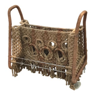 Macrame Magazine Rack on Wheels For Sale