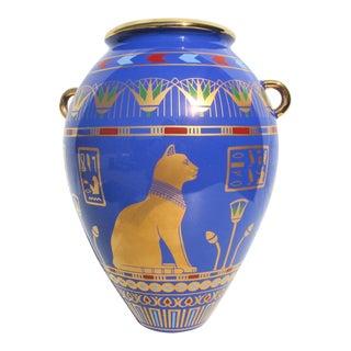 Vintage Egyptian Porcelain Vase of Bast For Sale