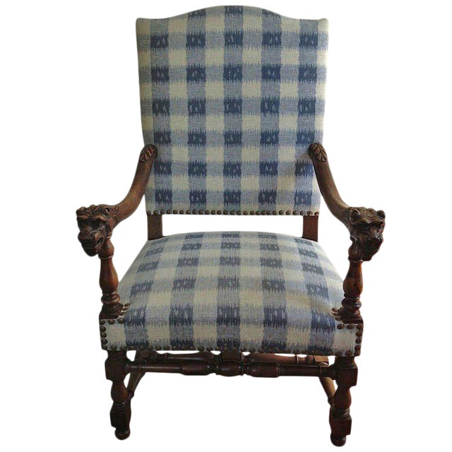 Walnut French Armchair in Brunschwig Fabric For Sale