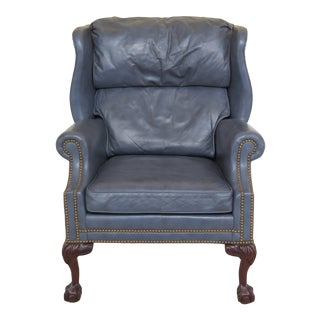 1990s Vintage Hancock & Moore Blue Leather Ball & Claw Wing Chair For Sale