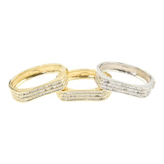 Italian Stackable Crystal Wave Bangles Bracelets Set of 3 For Sale