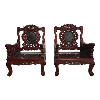 Pair of Vintage Chinese Rosewood & Jade Arm Chairs For Sale