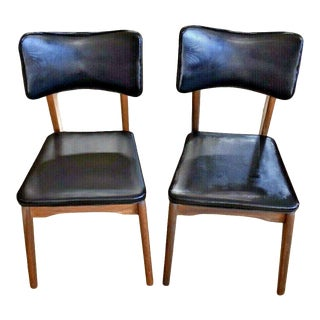 Mid Century Danish Modern Walnut Black Upholstered Side Chairs - a Pair For Sale