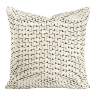 "Designtex Cream With Black Accent West Elm Tack Cloth in Cream Pillow Cover - 20"" X 20"" For Sale"