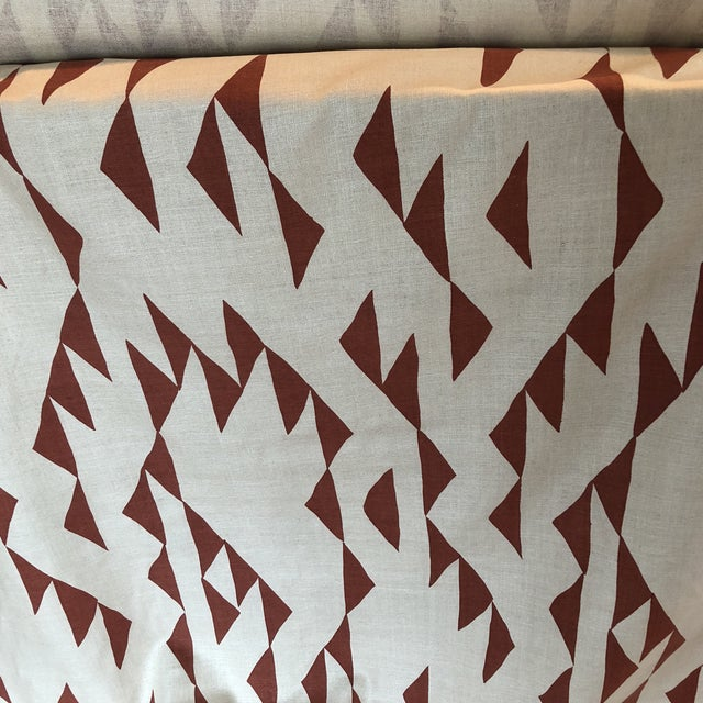 Red Maroon Print Fabric on Silk For Sale - Image 8 of 8