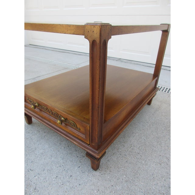 Brass Mid-Century Modern Fine Arts Furniture Co. Two-Tiered Side Table For Sale - Image 7 of 11