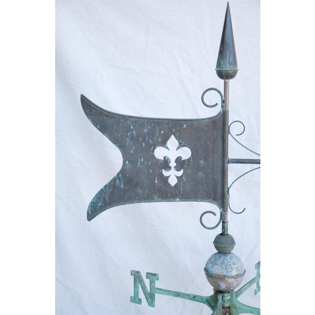 Turquoise Vintage Copper Fleur de Lis Weathervane With Stand For Sale - Image 8 of 11