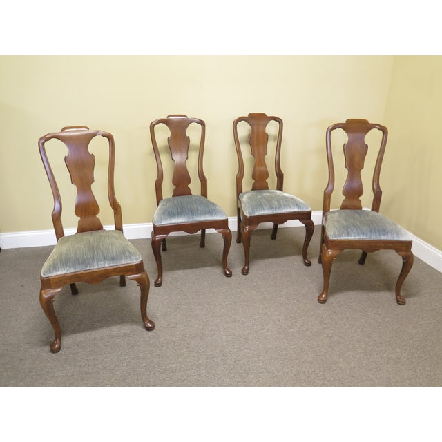 1980s Vintage Henredon 18th C. Collection Walnut Dining Chairs-Set of 4 For Sale - Image 9 of 9