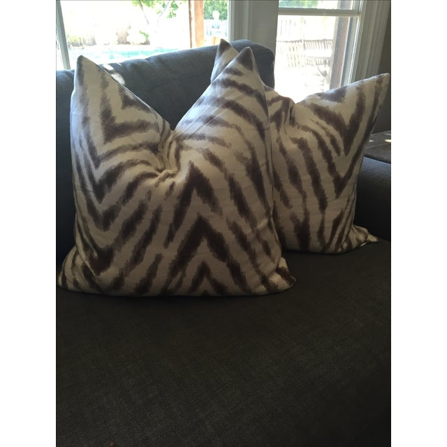 Barclay Butera Brown & White Zebra Pillows - Pair - Image 4 of 6
