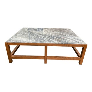 Transitional Oak and Marble Coffee Table For Sale