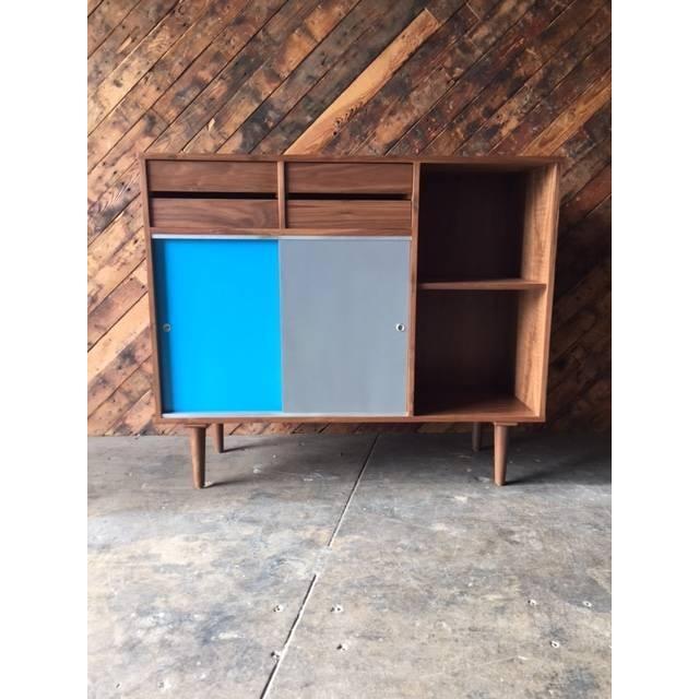 Mid-Century Style Custom Walnut Cabinet - Image 2 of 7