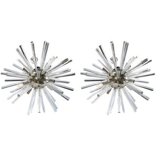 A Pair of Italian Mid-Century Modern Chrome Sputnik Chandeliers For Sale