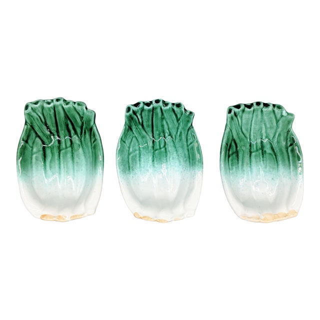 Vintage Italian Majolica Green Onion Vegetable Dipping Bowls - Set of 3 For Sale