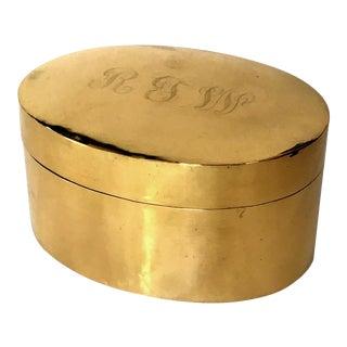 Monogramed Polished Brass Box For Sale