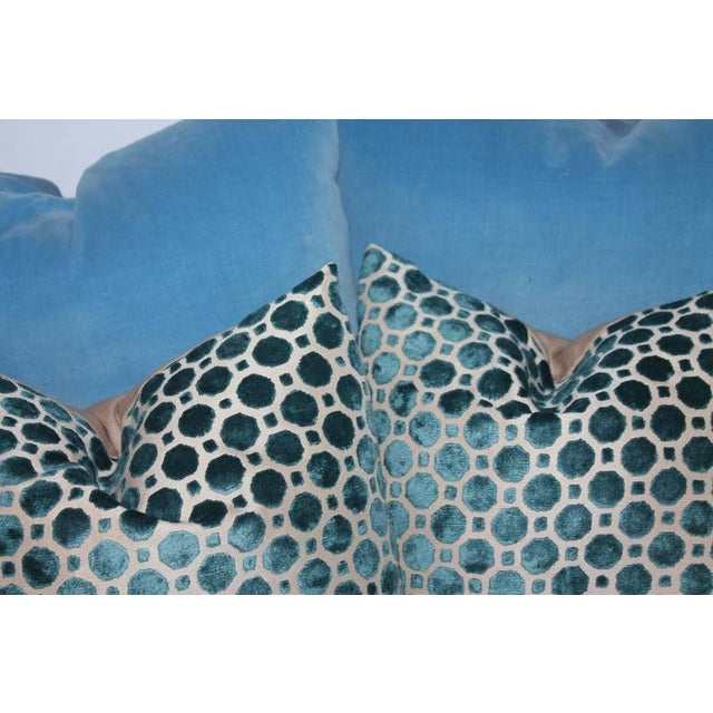 Amazing Vintage Patterned Velvet Pillows For Sale - Image 4 of 4
