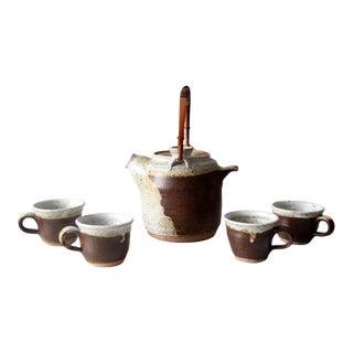Vintage Japanese Studio Pottery Tea Set - 5 Pc For Sale