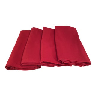 Vintage Christmas Holiday Red Napkins - Set of 4