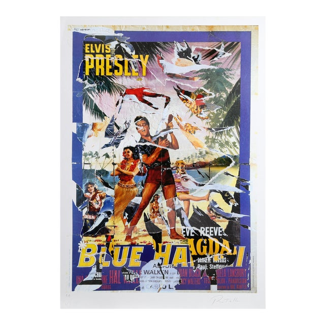 Mimmo Rotella - Blue Hawaii Serigraph With Collage For Sale