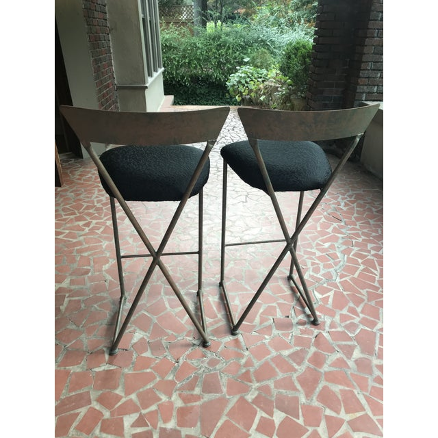 Great looking pair of vintage modern bar stools by Shaver Howard. The finish is a mottled copper/green tone and the seats...