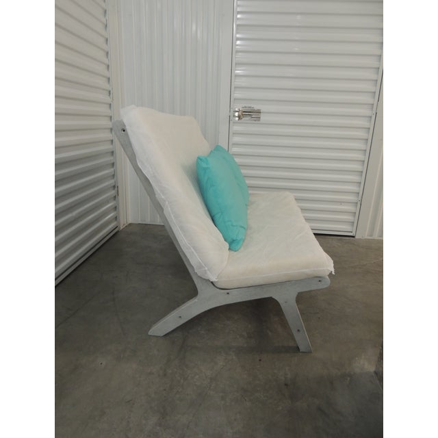 Gray Outdoor Safavieh Weathered Finish Settee For Sale - Image 8 of 10