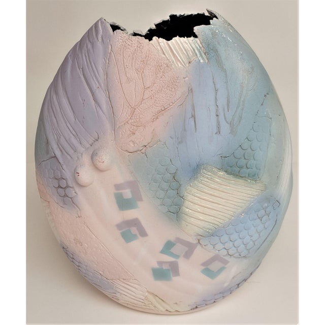 Artist, Gail Markiewicz , hand built of texture and carved clay in a patchwork motif , Airbrushed and hand painted with...